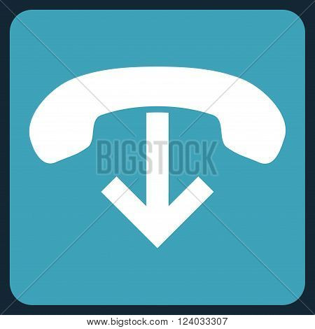 Phone Hang Up vector symbol. Image style is bicolor flat phone hang up pictogram symbol drawn on a rounded square with blue and white colors.
