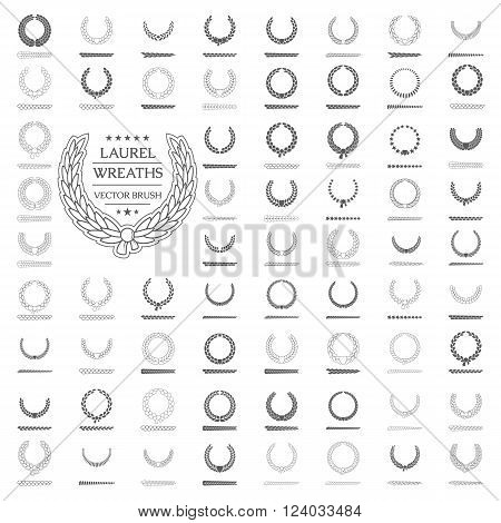 Design element wreath. Laurel wreath Icon Vector. Laurel wreath Icon JPG. Laurel wreath Icon Art. Laurel wreath Icon Image. Laurel wreath Icon AI. Laurel wreath Icon Drawing.Icon set. Vector  brush.