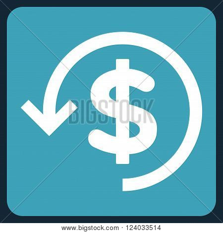 Refund vector icon symbol. Image style is bicolor flat refund pictogram symbol drawn on a rounded square with blue and white colors.