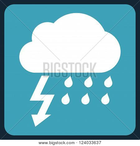 Thunderstorm vector icon symbol. Image style is bicolor flat thunderstorm iconic symbol drawn on a rounded square with blue and white colors.