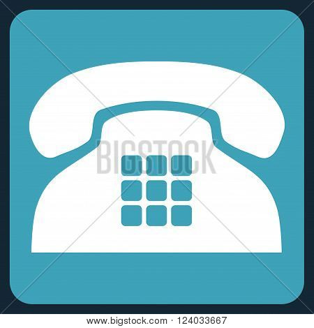 Tone Phone vector icon symbol. Image style is bicolor flat tone phone icon symbol drawn on a rounded square with blue and white colors.