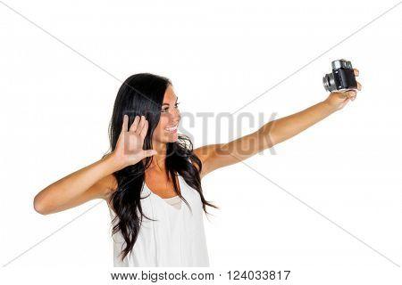 woman makes selfi