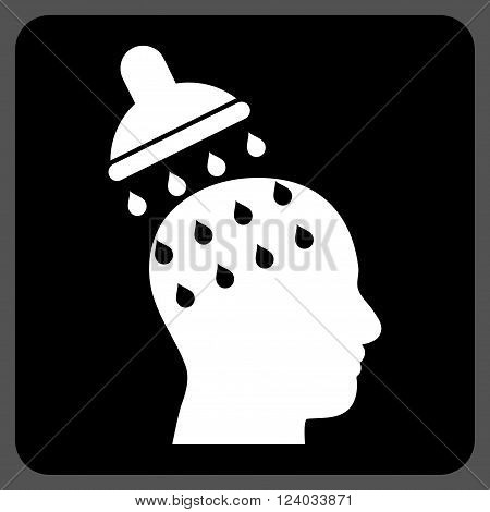 Brain Washing vector pictogram. Image style is bicolor flat brain washing pictogram symbol drawn on a rounded square with black and white colors.