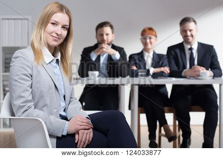 Happy Woman Hired In Corporation