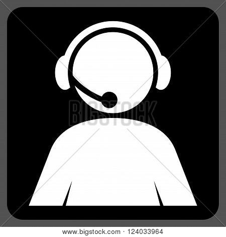 Call Center Operator vector icon. Image style is bicolor flat call center operator pictogram symbol drawn on a rounded square with black and white colors.