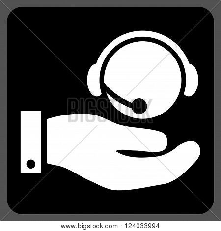 Call Center Service vector symbol. Image style is bicolor flat call center service pictogram symbol drawn on a rounded square with black and white colors.