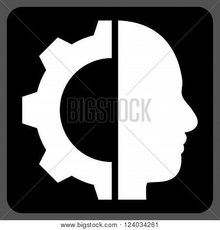 Cyborg Gear vector icon. Image style is bicolor flat cyborg gear iconic symbol drawn on a rounded square with black and white colors.