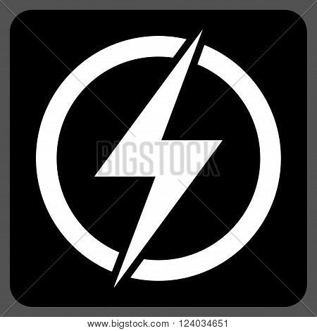Electricity vector symbol. Image style is bicolor flat electricity pictogram symbol drawn on a rounded square with black and white colors.