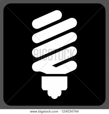 Fluorescent Bulb vector icon symbol. Image style is bicolor flat fluorescent bulb icon symbol drawn on a rounded square with black and white colors.