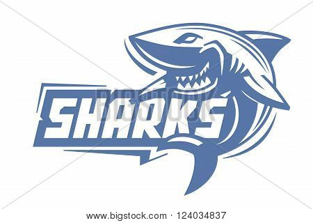 vector blue shark icon on white background
