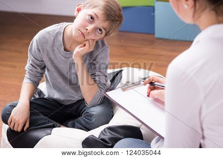 Boy Bored Of Conversation With Psychologist