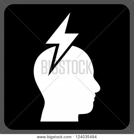Headache vector icon. Image style is bicolor flat headache icon symbol drawn on a rounded square with black and white colors.