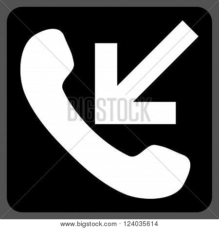 Incoming Call vector icon. Image style is bicolor flat incoming call iconic symbol drawn on a rounded square with black and white colors.