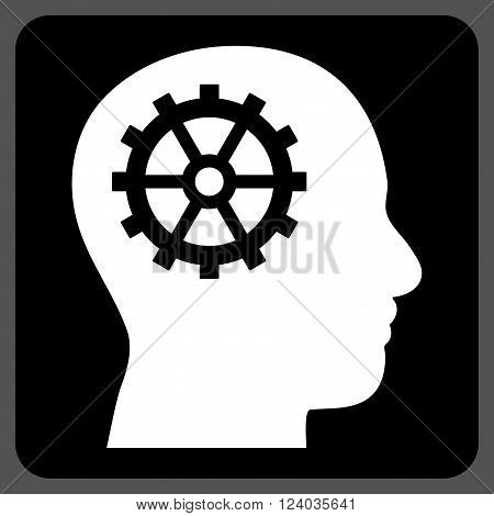 Intellect vector symbol. Image style is bicolor flat intellect pictogram symbol drawn on a rounded square with black and white colors.