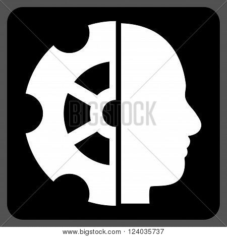 Intellect vector icon symbol. Image style is bicolor flat intellect icon symbol drawn on a rounded square with black and white colors.