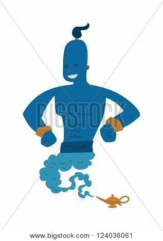 Cartoon strong gin coming out of a magic lamp flat vector illustration. Vector Cartoon strong gin and Magic Lamp. Legend gin people in black glasses.