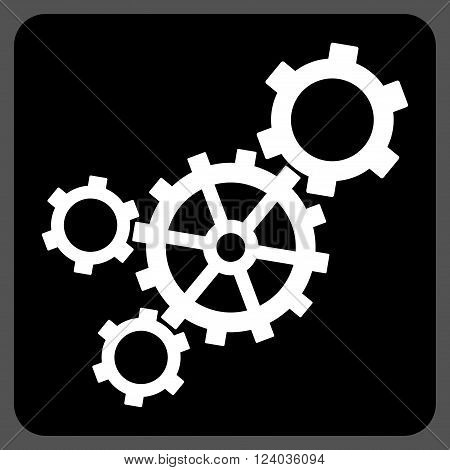 Mechanism vector pictogram. Image style is bicolor flat mechanism icon symbol drawn on a rounded square with black and white colors.