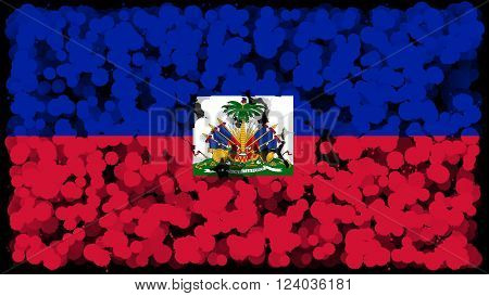 Flag of Haiti, Haitian flag painted with brush on solid background, ink texture