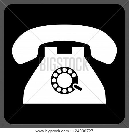 Pulse Phone vector icon. Image style is bicolor flat pulse phone pictogram symbol drawn on a rounded square with black and white colors.