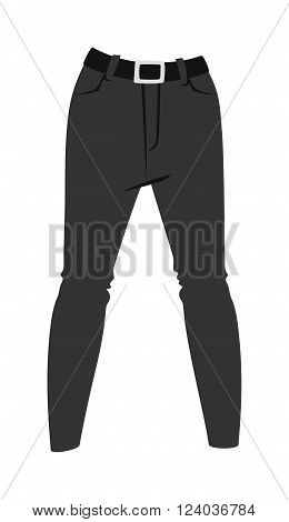 Cartoon jeans trousers details silhouettes of denim menswear. Black jeans on white. Jeans casual isolated fashion. Flat jeans clothing style. Cartoon jeans clothing design.