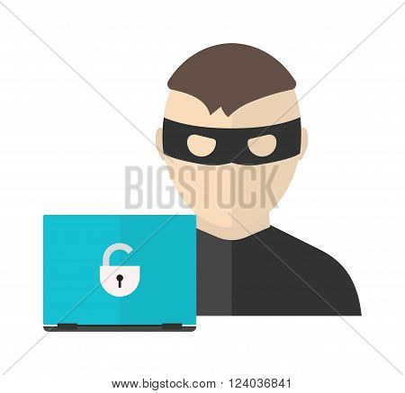 Hacker activity vector illustration in flat design style. Computer hacking, internet security concept. Computer Hacker in action. Criminal hacker man.