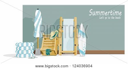 Composition of beach accessories on the wall for summer background