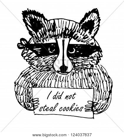 Funny Cartoon picture raccoon thief in a dark bandage with a sign sketch hand-drawn characters black and white vector illustration