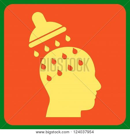 Brain Washing vector icon. Image style is bicolor flat brain washing iconic symbol drawn on a rounded square with orange and yellow colors.