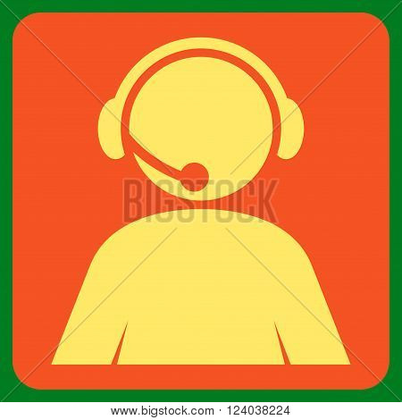 Call Center Operator vector pictogram. Image style is bicolor flat call center operator pictogram symbol drawn on a rounded square with orange and yellow colors.