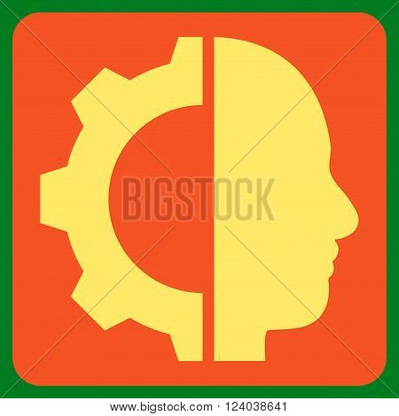 Cyborg Gear vector symbol. Image style is bicolor flat cyborg gear icon symbol drawn on a rounded square with orange and yellow colors.