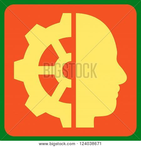Cyborg Gear vector symbol. Image style is bicolor flat cyborg gear pictogram symbol drawn on a rounded square with orange and yellow colors.