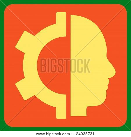 Cyborg Gear vector symbol. Image style is bicolor flat cyborg gear iconic symbol drawn on a rounded square with orange and yellow colors.