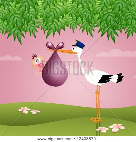 funny illustration of stork with baby girl