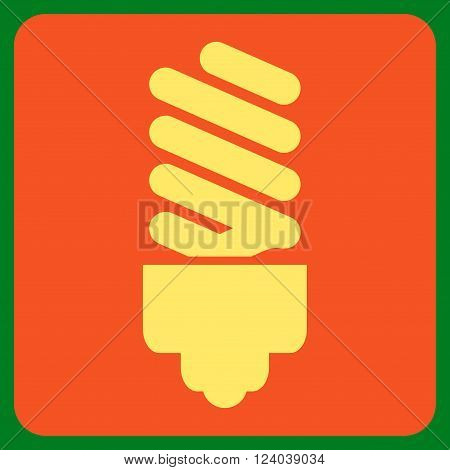 Fluorescent Bulb vector icon symbol. Image style is bicolor flat fluorescent bulb pictogram symbol drawn on a rounded square with orange and yellow colors.