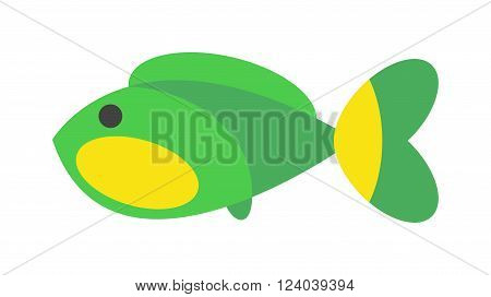 Fish flat icon vector isolated on white background. Vector image of funny cartoon smiling fish. Simple flat animal fish water life symbol. Cartoon fish animal. Aquarium flat fish vector.