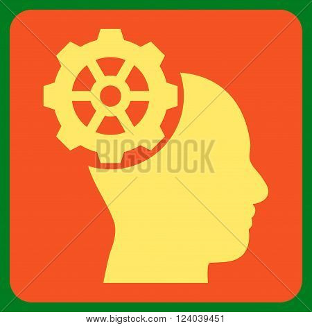 Head Gear vector symbol. Image style is bicolor flat head gear pictogram symbol drawn on a rounded square with orange and yellow colors.