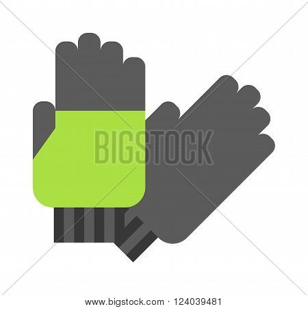 Flat gloves cartoon vector illustration. Leather green gloves isolated on white. Some gloves fashion accessory
