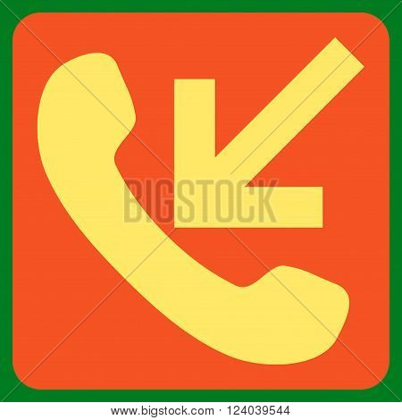 Incoming Call vector symbol. Image style is bicolor flat incoming call pictogram symbol drawn on a rounded square with orange and yellow colors.