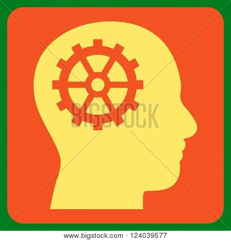 Intellect vector pictogram. Image style is bicolor flat intellect iconic symbol drawn on a rounded square with orange and yellow colors.