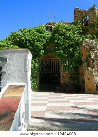 The grotto of the Virgen de la Pena in Mijas village Spain Costa Del Sol