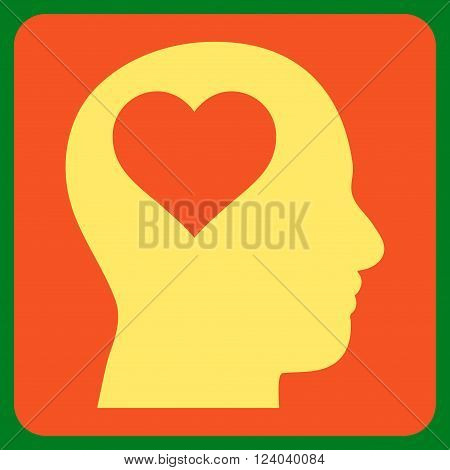 Lover Head vector symbol. Image style is bicolor flat lover head pictogram symbol drawn on a rounded square with orange and yellow colors.