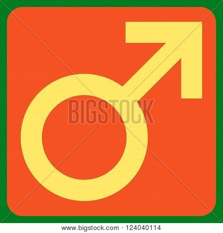 Male Symbol vector symbol. Image style is bicolor flat male symbol icon symbol drawn on a rounded square with orange and yellow colors.