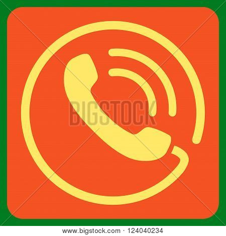 Phone Call vector icon symbol. Image style is bicolor flat phone call iconic symbol drawn on a rounded square with orange and yellow colors.