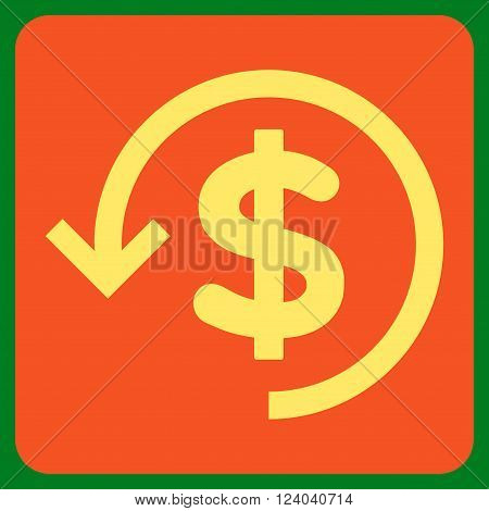 Refund vector icon symbol. Image style is bicolor flat refund pictogram symbol drawn on a rounded square with orange and yellow colors.