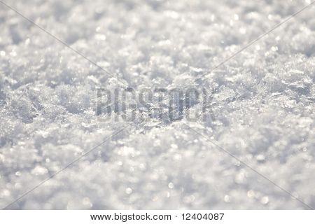 Textura de neve close up - brilhos de glitter em fundo, DOF raso