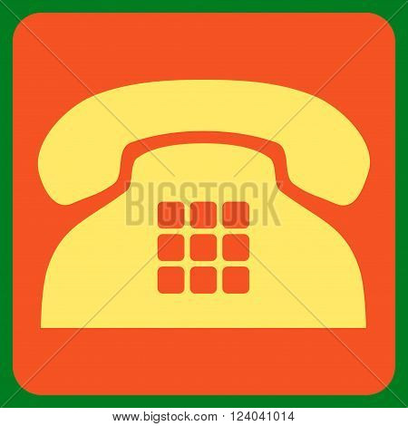 Tone Phone vector pictogram. Image style is bicolor flat tone phone pictogram symbol drawn on a rounded square with orange and yellow colors.