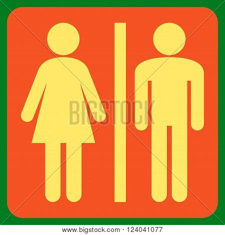 WC Persons vector icon symbol. Image style is bicolor flat WC persons iconic symbol drawn on a rounded square with orange and yellow colors.