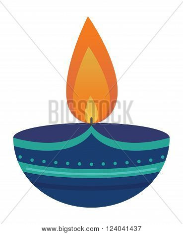Burning wax candle in a stand flat vector illustration. Cartoon candle on a saucer. Traditional holidays candles.