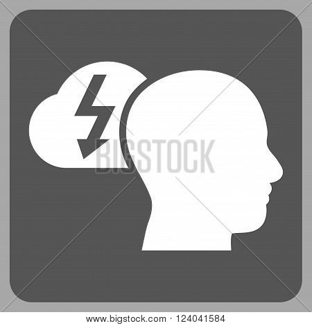 Brainstorming vector pictogram. Image style is bicolor flat brainstorming icon symbol drawn on a rounded square with dark gray and white colors.