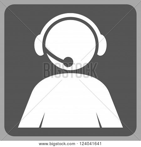 Call Center Operator vector icon symbol. Image style is bicolor flat call center operator icon symbol drawn on a rounded square with dark gray and white colors.